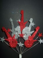 Rock guitar 16th birthday cake topper decoration in red and silver - free postage